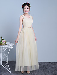 Ankle-length V-neck Bridesmaid Dress - Elegant Sleeveless Satin Tulle