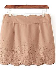 Damer Mini Nederdele Højtaljede BodyconEnsfarvet