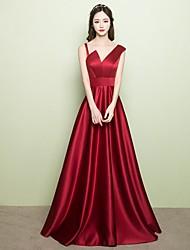 Evento Formal Vestido - Elegante Corte en A Cuello en V Larga Satén con