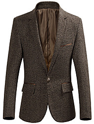 Work Simple Fall Blazer,Solid V Neck Long Sleeve Regular Rayon