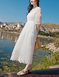 Uma-Peça/Vestidos Lolita Clássica e Tradicional Inspiração Vintage Elegant Princesa Cosplay Vestidos Lolita Branco Rendas VintageManga