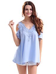 Feminino Camiseta Casual Simples Verão,Sólido Poliéster Ombro a Ombro Manga Curta Fina