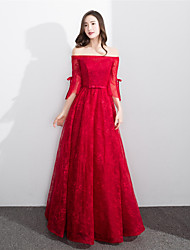 Formal Evening Dress - Lace-up A-line Off-the-shoulder Floor-length Lace with Sash / Ribbon