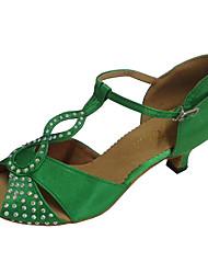 Sapatas latin da dança das mulheres personalizadas do salto calcanhar sandálias abertas da dança do dedo do pé do satin com rhinestones