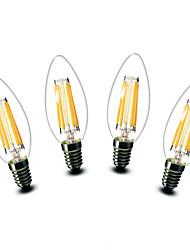 4.5W E14 Luzes de LED em Vela C35 6 COB 500 lm Branco Quente Decorativa AC 220-240 V 4 pçs