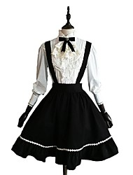 Saia Blusa/Camisa Lolita Clássica e Tradicional Cosplay Vestidos Lolita Cor Única Manga Comprida Longuete Blusa Saia Para Algodão