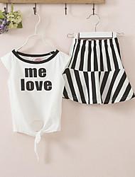 Girls' Casual/Daily Polka Dot Sets,Cotton Summer Short Sleeve Clothing Set
