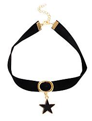 בגדי ריקוד נשים ´נערות שרשראות מחרוזת שרשראות תליון Collar תכשיטים Star Shape עור סגסוגתעיצוב בייסיק אופנתי וינטאג' סטייל פאנק היפ-הופ