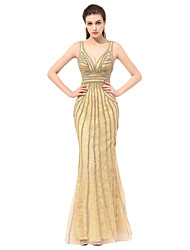 Vestido de noche formal trompeta / sirena v-cuello piso-longitud tul con rebordear