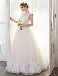LAN TING BRIDE Balkjole Bryllupskjole - Elegant og luksuriøs Blonde Look Gulvlang Høj halset Tyl medApplikeret broderi Perler Krystal