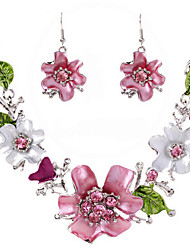 Drop Earrings Necklace Crystal Dangling Style Petals Cute Style Fashion Bohemian Adorable Rhinestone Alloy Flower Necklaces Earrings For