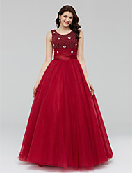 Formal Evening Dress - Sparkle & Shine Ball Gown Scoop Floor-length Tulle with Crystal Detailing Pearl Detailing Sash / Ribbon Bandage