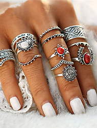 Fashion 14pcs/Set Vintage Silver Color Moon And Sun Midi Female Ring Sets for Women Red White Stone Knuckle Rings Gift Jewelry Accessories