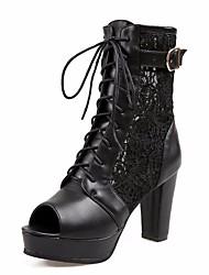 Women's Heels Spring Comfort PU Casual Almond Black White