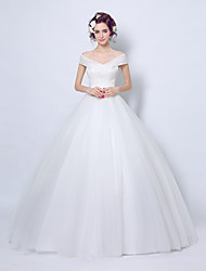 Ball Gown Wedding Dress Vintage Inspired Floor-length Off-the-shoulder Tulle with Lace