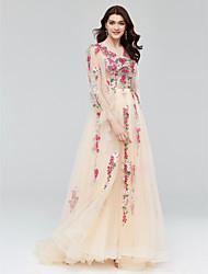 フォーマルイブニング ドレス - シースルー Aライン ジュエル コートトレーン チュール とともに アップリケ クリスタル装飾 バンデージ