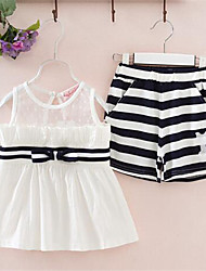 Girls' Casual/Daily Striped Sets,Cotton Summer Sleeveless Clothing Set