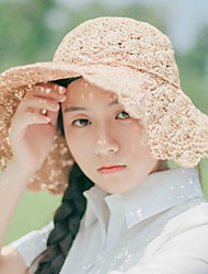 Women Summer Solid Color Handmade Straw Hat Curling Shade Beach Pastoral Sunscreen Hat