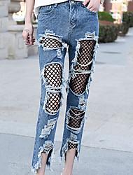 Dam Sexig Punk & Gotiskt Mikro-elastiskt Jeans Byxor,Mellanhög midja Rak Enfärgat Rev