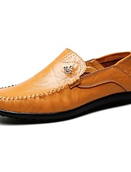 Men's Loafers & Slip-Ons Comfort Leather Office & Career Casual Flat Heel Yellow Walking