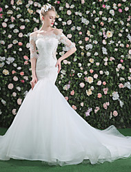 Trumpet / Mermaid Wedding Dress - Classic & Timeless Chic & Modern Elegant & Luxurious See-Through Court Train Bateau Lace Tulle with