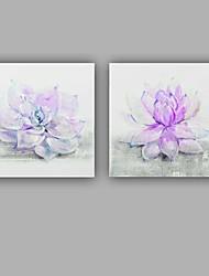 Pintados à mão Floral/Botânico Quadrangular,Clássico Moderno 2 Painéis Tela Pintura a Óleo For Decoração para casa