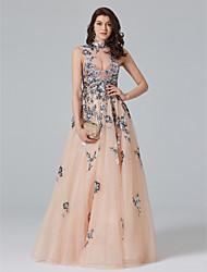 TS Couture 포멀 이브닝 드레스 - 스파클 & 샤인 아름다운 뒤태 셀러브리티 스타일 A-라인 하이 넥 바닥 길이 튤 와 아플리케 크리스탈 디테일 스팽글