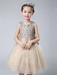Ball Gown Short / Mini Flower Girl Dress - Cotton Lace Tulle Jewel with Crystal Detailing Embroidery Lace