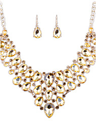 European Fashion Diamond Necklace Earrings Set