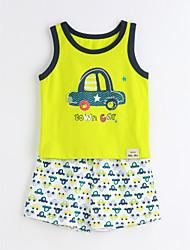 Unisex Casual/Daily Animal Print Sets,Cotton Summer Short Sleeve Clothing Set