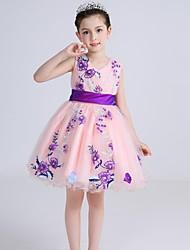 Da ballo Corto / mini Abito da damigella d'onore bambina - Cotone Raso Tulle A V con Fiocco (fiocchi) Ricamo Fascia / fiocco in vita