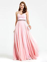 TS Couture Evento Formal Vestido - Frente Única Elegante Linha A Com Alças Finas Cauda Escova Chiffon comMiçangas Detalhes em Cristal