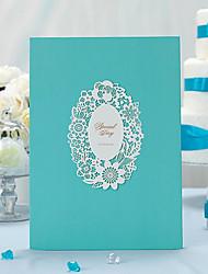 Modrý / perlový papír / klasické téma / obojstranný dutý out / guest kniha