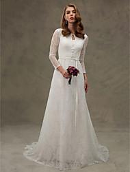 LAN TING BRIDE Linea-A Vestito da sposa - Elegante e di lusso Nerissimo Strascico di corte Con decorazione gioiello Di pizzo conCon