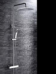 Contemporâneo Montagem de Parede Termostática with  Válvula Cerâmica Duas alças de três furos for  Cromado , Torneira de Chuveiro