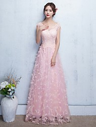 Formal Evening Dress - Elegant A-line Off-the-shoulder Floor-length Tulle with Lace