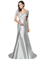 Formale Abendkleid Trompete / Meerjungfrau V-Ausschnitt Sweep / Pinsel Zug Satin mit Perlen