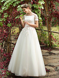 A-line Wedding Dress - Chic & Modern Simply Sublime Floor-length Bateau Tulle with Appliques Beading Flower