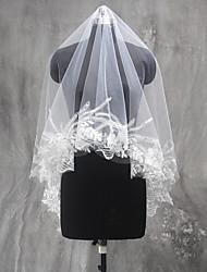 웨딩 면사포 한층 팔꿈치 베일 손가락 베일 레이스처리된 가장자리 명주그물