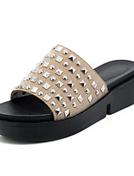 Women's Sandals Summer Slingback Creepers Comfort Light Soles Leatherette Outdoor Dress Casual Creepers Rivet Beige Black White