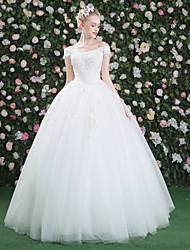 Princesa Vestido de novia - Clásico y Atemporal Hasta el Suelo Bateau Encaje Tul Lentejuelas conApliques Cuentas Cristal Flor Encaje