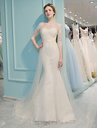 Trumpet / Mermaid Wedding Dress - Classic & Timeless Chic & Modern Court Train Jewel Lace Tulle with Beading Lace Sequin