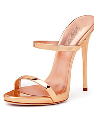 Women's Sandals With Heel 2017 Rose Gold Shiny Patent High Heel Shoes Sxey Strappy Sandals Ladies Gladiator Heels Stiletto Mules Plus Size