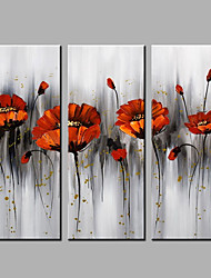 Hand-Painted Modern Oil Painting Flowers Three Panels Canvas  For Home Decoration