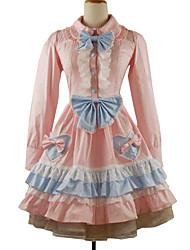Einteilig/Kleid Klassische/Traditionelle Lolita Rokoko Cosplay Lolita Kleider einfarbig Langarm Knielänge Kleid Minimantel Für Baumwolle