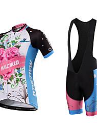 Cycling Jersey with Bib Shorts Women's Unisex Short Sleeve Bike Bib Tights JerseyQuick Dry Anatomic Design Moisture Permeability Front