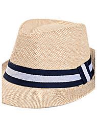 Men's Summer Middle-aged Stripe Jazz Cap Sunscreen Linen Old Man Straw Hat