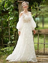 A-라인 웨딩 드레스 - 쉬크&모던 시쓰루 코트 트레인 스쿱 레이스 튤 와 진주