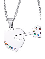 Fashion Lock and Key Necklaces & Pendants Stainless Steel Love Pendant Necklace For Male and Female Rainbow Pendants