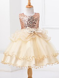 Ball Gown Knee-length Flower Girl Dress - Organza Satin Tulle Sequined Jewel with Bow(s) Sash / Ribbon Sequins